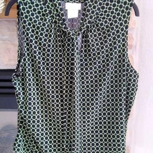 Worthington Sleeveless Top XL Black/Lime Green